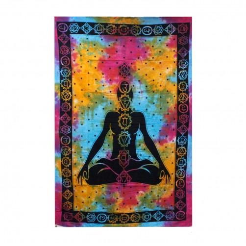 Pregrinjalo iz indijskega bombaža Buda Čakra 200 x 130 cm