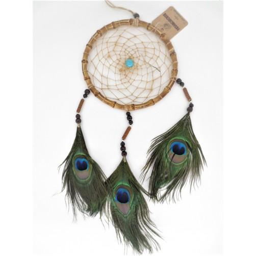 Dreamcatcher / lovilec sanj - bambus in pavja peresa