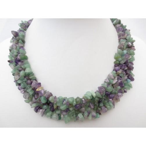 Ametist & Aventurin široka mineralna ogrlica