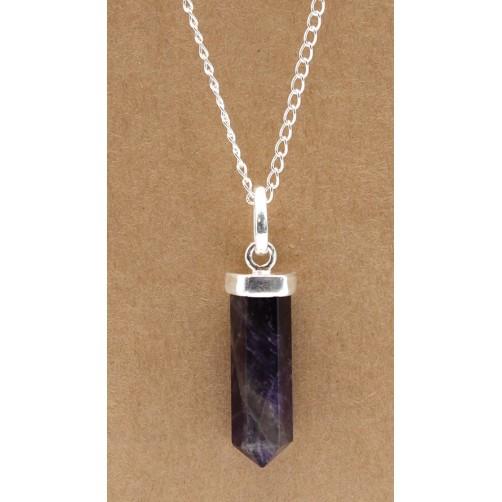 Ročno izdelana posrebrena ogrlica clasic Ametist