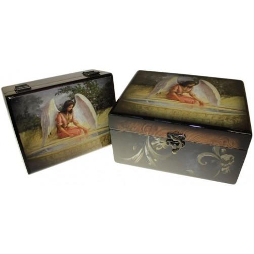 Angelska lesena škatla 20 x 16 x 10 cm