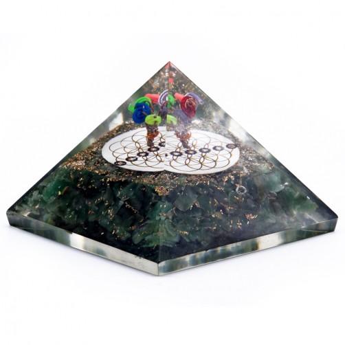 Orgonit piramida aventurin z rožo življenja 7 x 7 cm