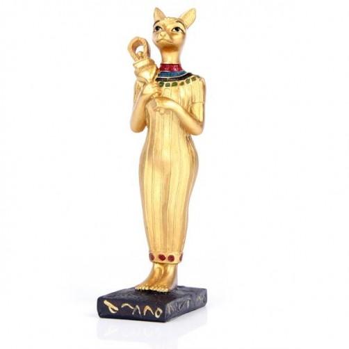 Bastet egipčanska boginja, kipec zlate barve