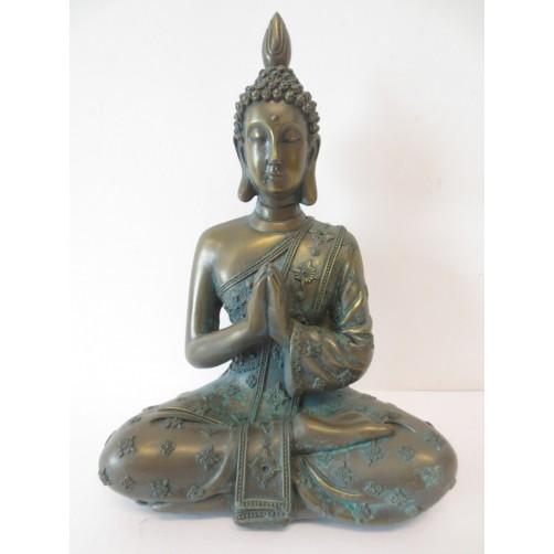 Buda bronastozelen  - simbol modrosti in miru 19 x 13 cm