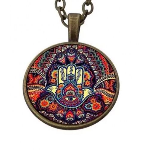 Ogrlica s srečnim obeskom Hamsina roka zaščite