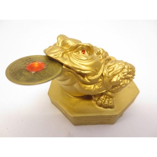 Zlata Feng Shui žaba za priklic obilja