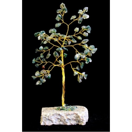 Feng Shui Kristalno drevo mahovni ahat 80 kamnov