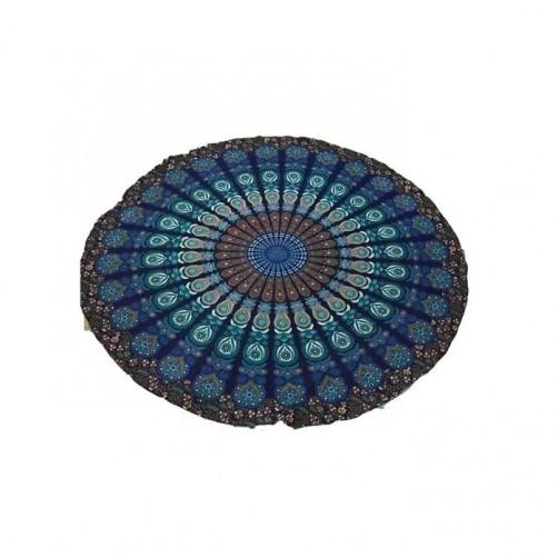 Okroglo pregrinjalo iz indijskega bombaža, modra mandala, 180 cm
