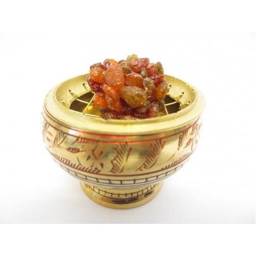 Medeninasta posodica za kadilo, tamjan zlatozlata z ornamentom