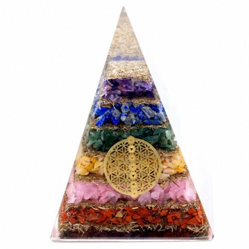 Orgonit piramida Sedem čaker Cvet življenja 8.5 x 8.5 x 12