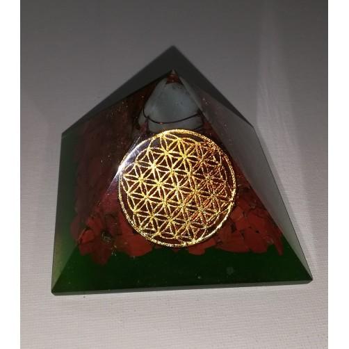 Orgonit piramida Roža življenja  7,5 x 7,5 cm