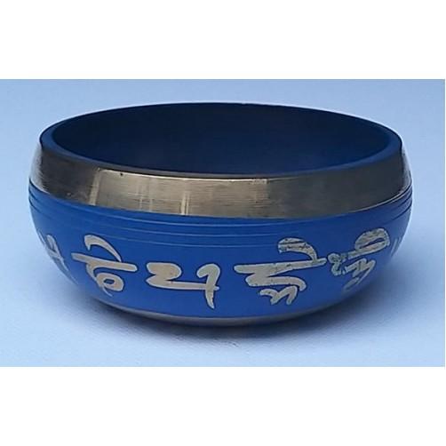 Himalajska pojoča skleda modra z ornamenti 9 cm