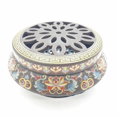 Posodica za kadilo, tamjan - keramika lotus in simboli za srečo
