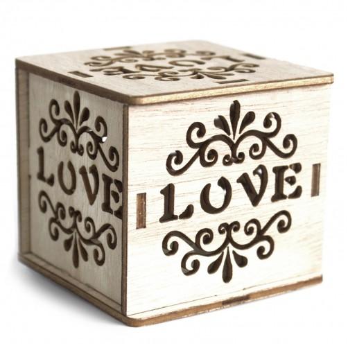 Dekorativna lesena škatlica z led lučko Ljubezen