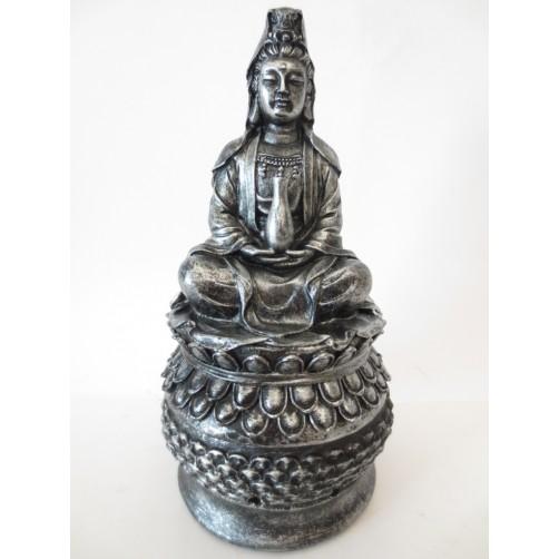 Boginja Kuan Yin - kipec, podstavek za dišeča olja ali stožce - silver